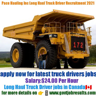 Pace Hauling Inc Long Haul Truck Driver Recruitment 2021-22