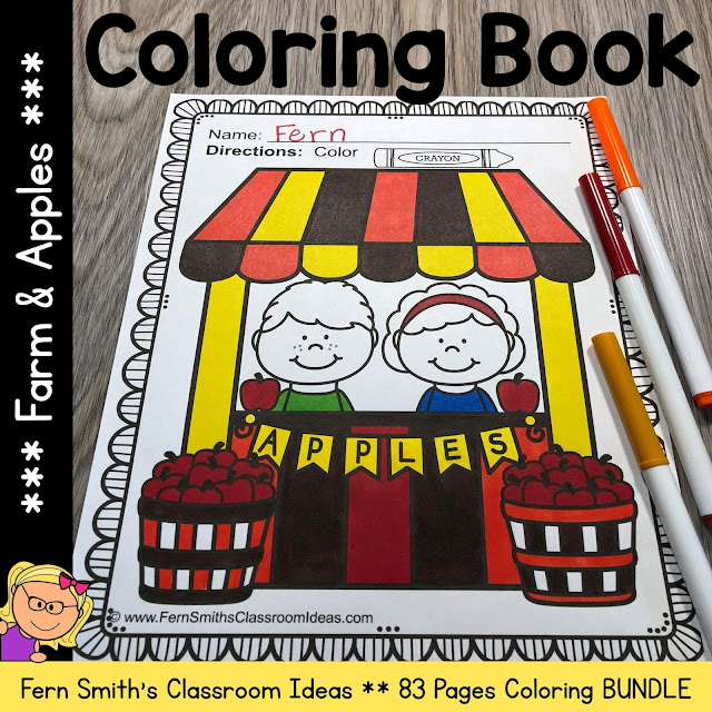 Click here to be ready for September with my Fall and Apples Coloring Pages Bundle!