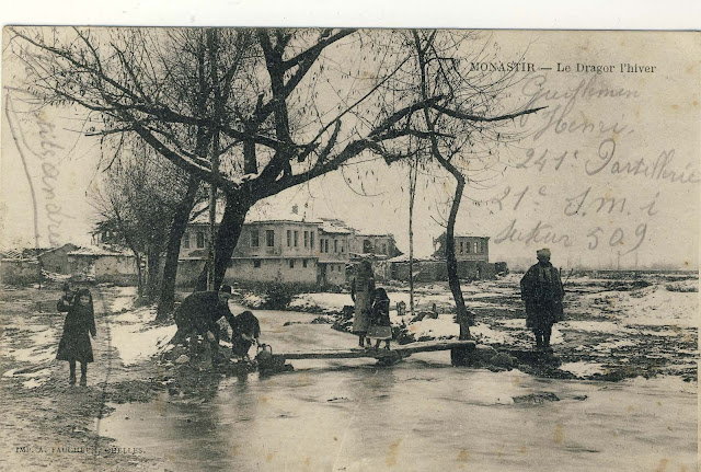 Dragor river in the neighborhood Dovledzik in the winter 1917/18 year. In the background are seen houses destroyed in the bombing.