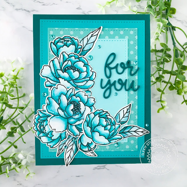 Sunny Studio Stamps: Pink Peonies Stitched Rectangle Dies Card by Ashley Ebben