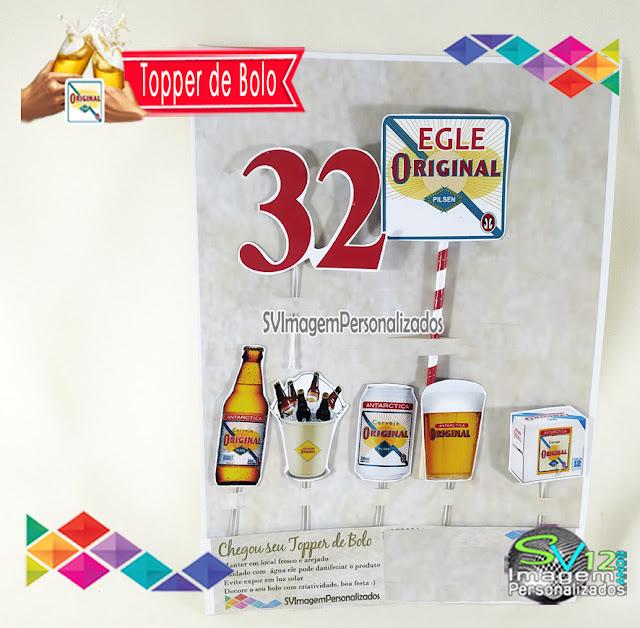 Festa Boteco Cerveja Antarctica Original dica decoração , os preços mais baratos para personalizados topper para bolo