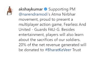Akshay Kumar Launch FAU-G Game