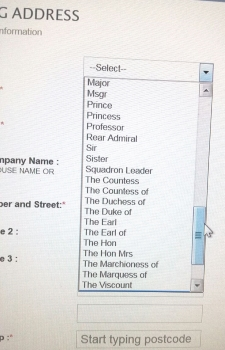 dropdown menu showing duchess and princess options