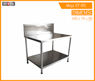 Meja Stainless dengan Backsplash