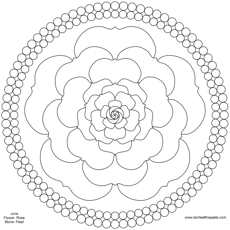 don 39 t eat the paste june birthstone and flower mandala. Black Bedroom Furniture Sets. Home Design Ideas