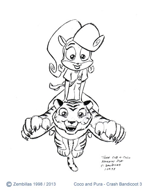 Charles zembillas crash bandicoot coco and pura 2 for Crash bandicoot coloring pages