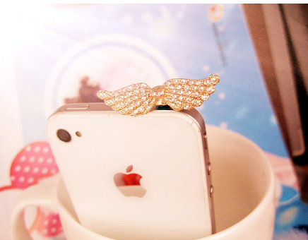 Exquisite Diamond Angel Wings Anti Dust Plug For Iphone6 6s For Samsung S6 For Xiaomi Meizu And All 3.5mm Earphone Jack Plug
