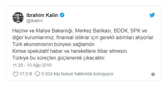 Cumhurbaşkanlığı Sözcüsü Kalın: Türkiye bu süreçten güçlenerek çıkacaktır.