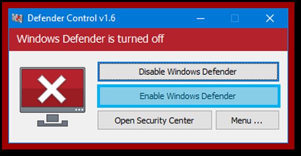 Menu Enable Windows Defender