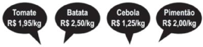 Na banca de um determinado feirante encontram-se as seguintes placas de preços