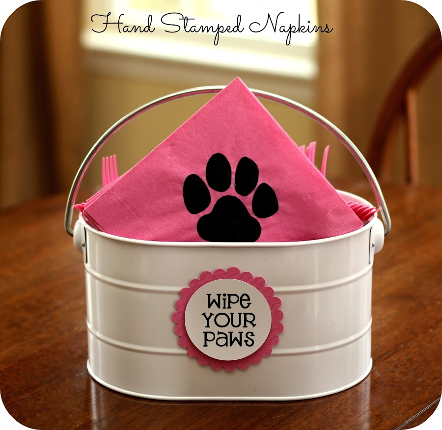 dog paw stamped napkins