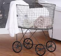 Farmhouse laundry hamper on wheels