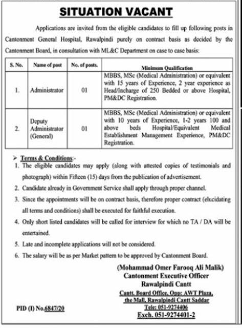 Cantonment General Hospital Rawalpindi Jobs Latest 2021