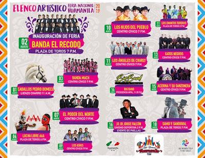 programa artístico Feria huamantla 2019
