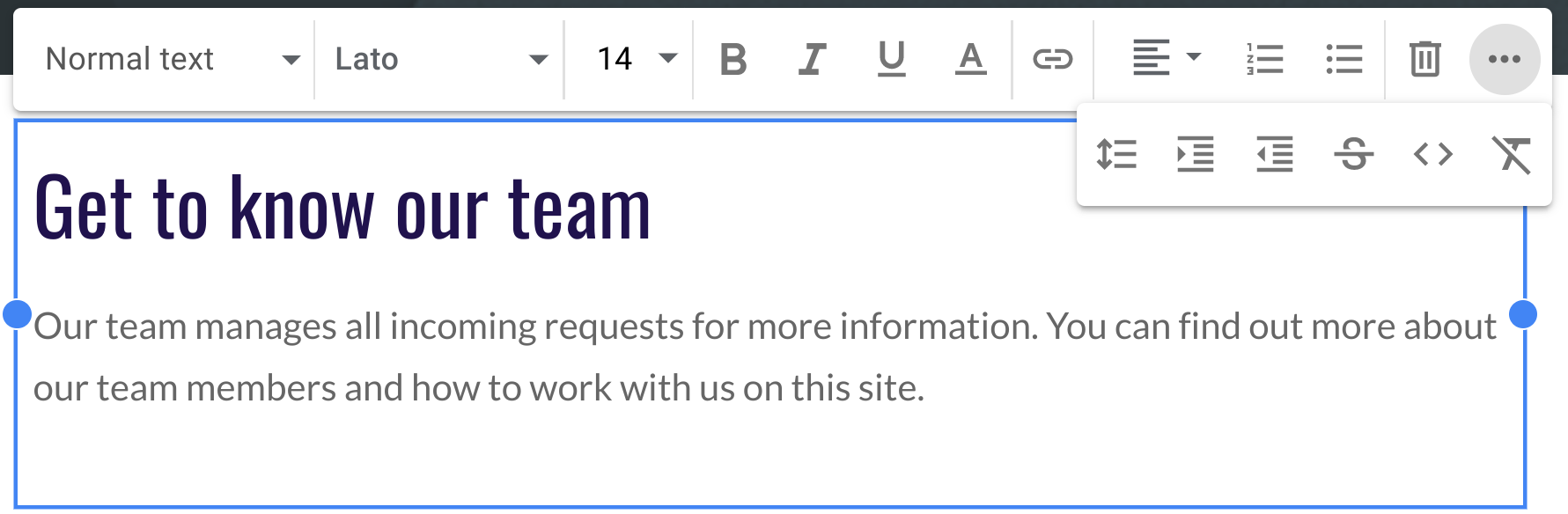 Customize text style and appearance in Google Sites