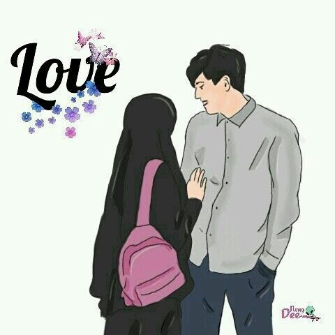 Islamic Couple Cartoon DP