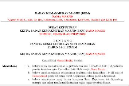 Contoh Surat Keputusan (SK) Panitia Kegiatan Bulan Ramadhan