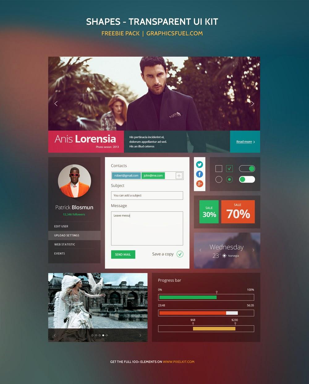 Transparent UI Kit PSD