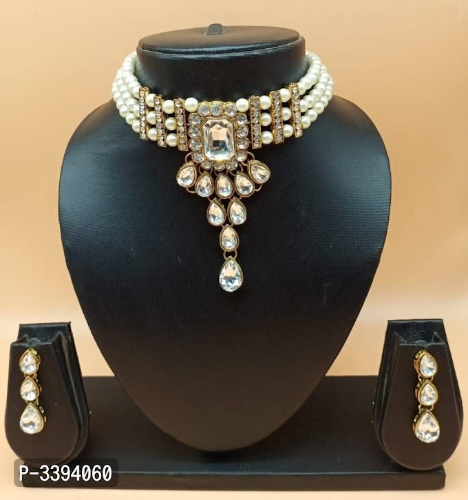 Dimond Stylish Pearl  Crystal Choker Jewellery Set For Women's Free Shipping Free Cod Avilaible