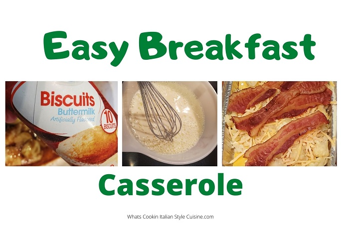 this is a collage on how to make the easiest breakfast in a casserole