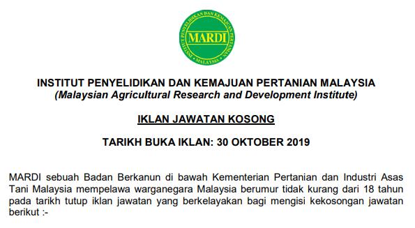 jawatan kosong mardi november 2019