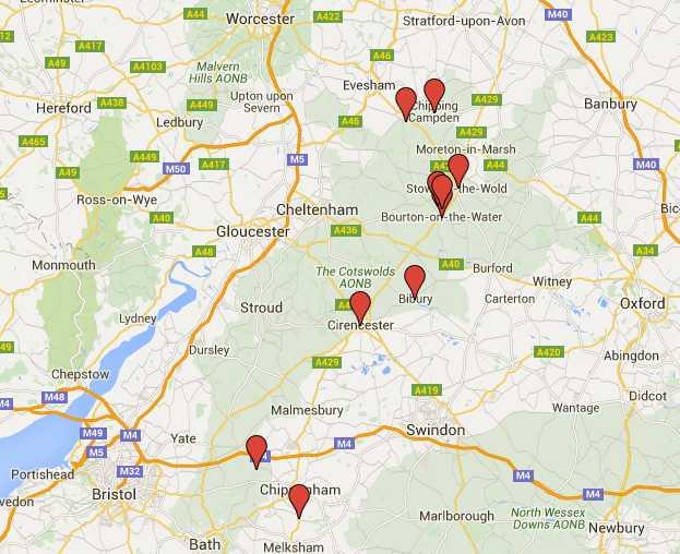 qué ver en Cotswolds en coche, mapa