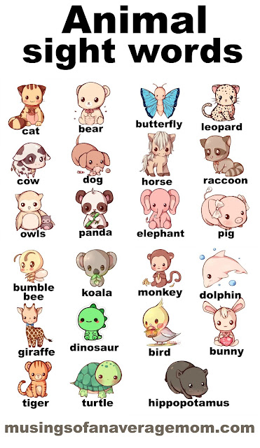 animal sight words