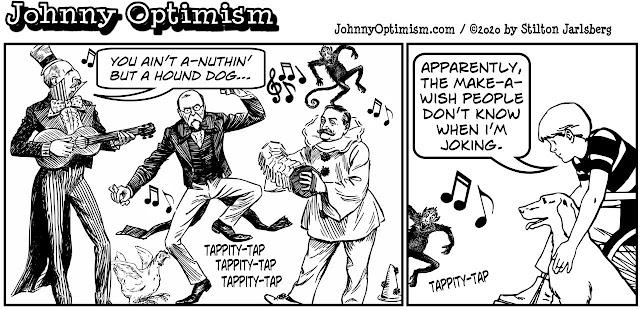 johnny optimism, medical, humor, sick, jokes, boy, wheelchair, doctors, hospital, stilton jarlsberg, make a wish, last request