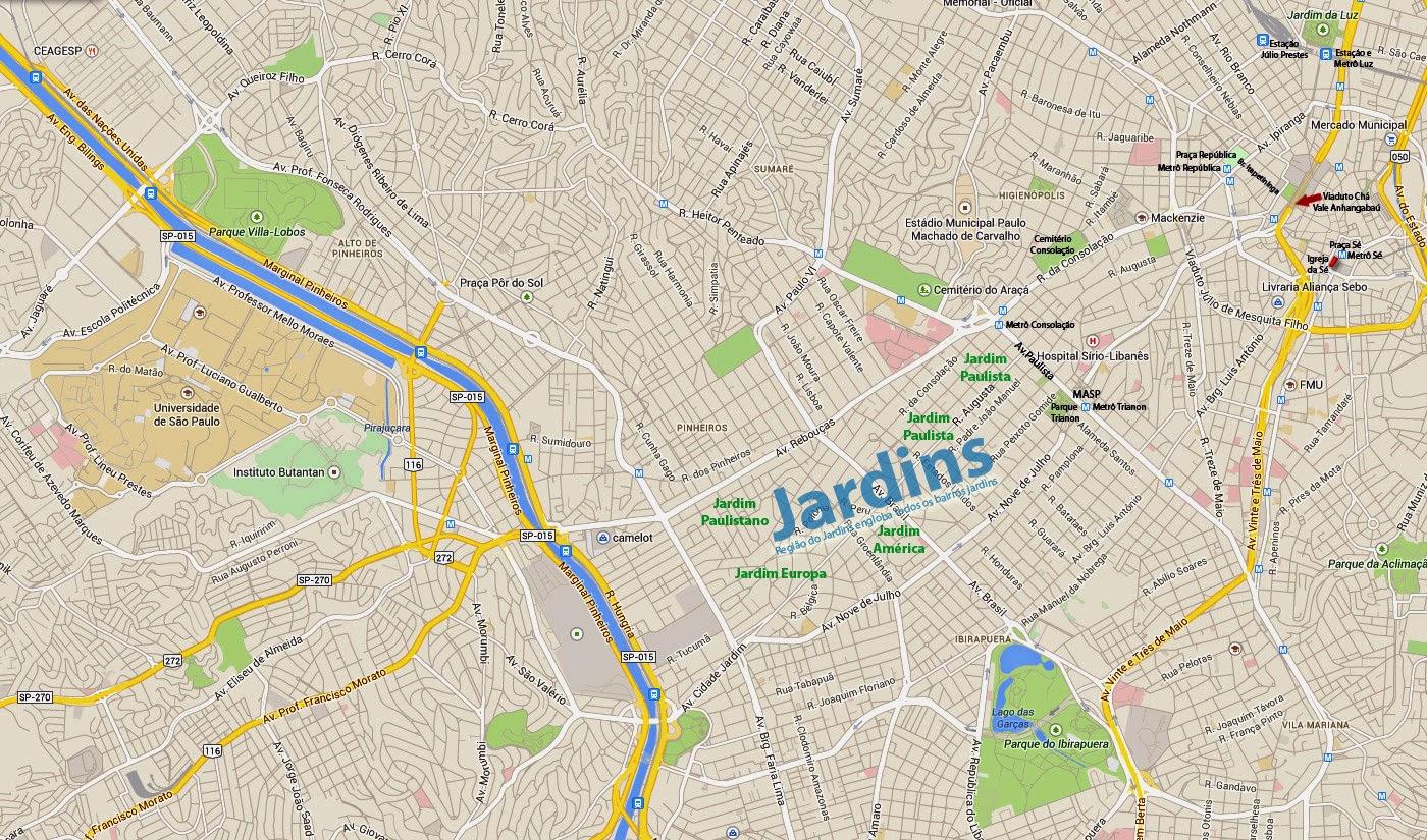 Área do Jardins em mapa das principais áreas turisticas de SP