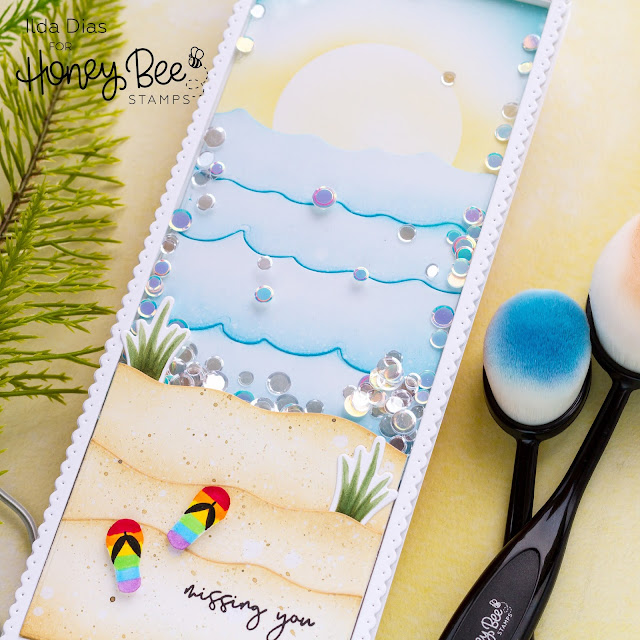 Missing You, Beach Scene Shaker Card, Honey Bee Stamps, Card Making, Stamping, Die Cutting, handmade card, Slimline Card, ilovedoingallthingscrafty, Stamps, how to, Making Waves long Border Dies, Hello Summer, Ink Blending,