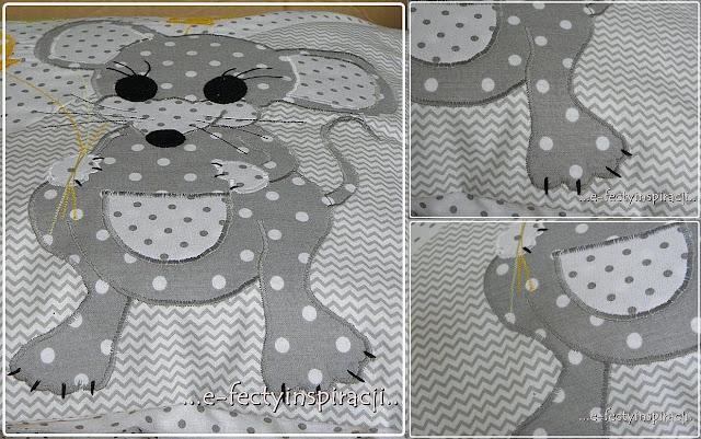 poduszka, poduszka z aplikacją, jak uszyć poduszkę z aplikacją, myszka, patchwork, poduszka patchwork, akcja charytatywna, pomysł na prezent, e-fectyinspiracji
