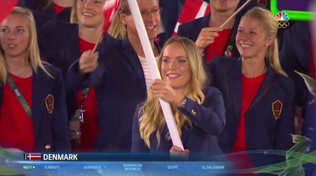 Denmark flag bearer delegation blonde women Rio 2016 Olympics Opening Ceremony