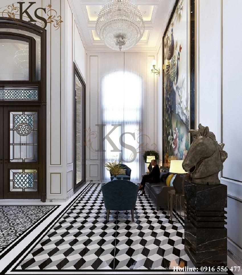 Hình ảnh: Cách sử dụng tinh tế các bức tượng mang ý nghĩa phong thủy càng làm đẹp thêm cho thiết kế nội thất khách sạn tân cổ điển.