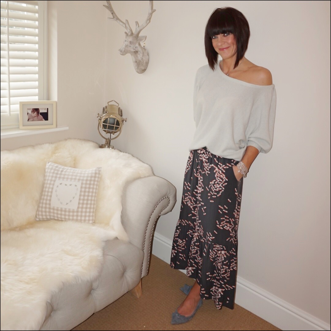 my midlife fashion, hush veria frill skirt, iris and ink cashmere off the shoulder jumper, j crew pointed tassel flats