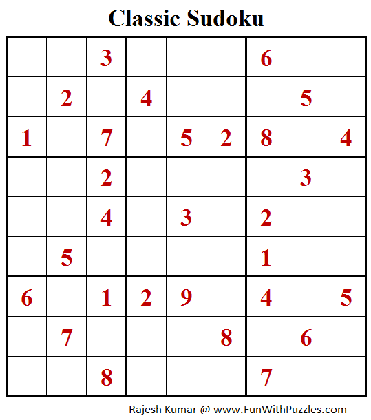 Classic Sudoku Puzzle (Fun With Sudoku #253)
