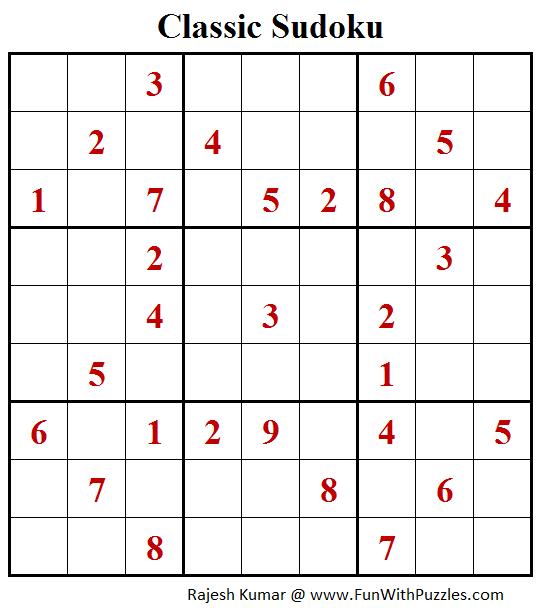 Classic Sudoku Puzzle (Fun With Sudoku #253)