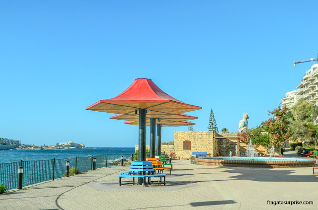 Malta: Independence Garden, Orla de Sliema, no bairro de Torri