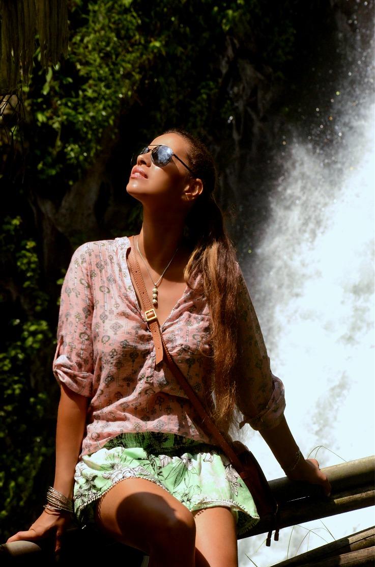 Gitgit twin waterfalls, Tamara Chloé, Bali, Indonesia, Chloe mini marcie bag tan