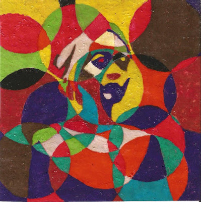 Multi colour cubism African painting of a woman