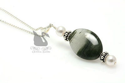 Moss Agate Gemstone Pearl Pendant Necklace (P06)