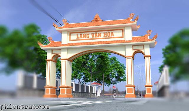 phối cảnh đường phố cổng làng văn hóa