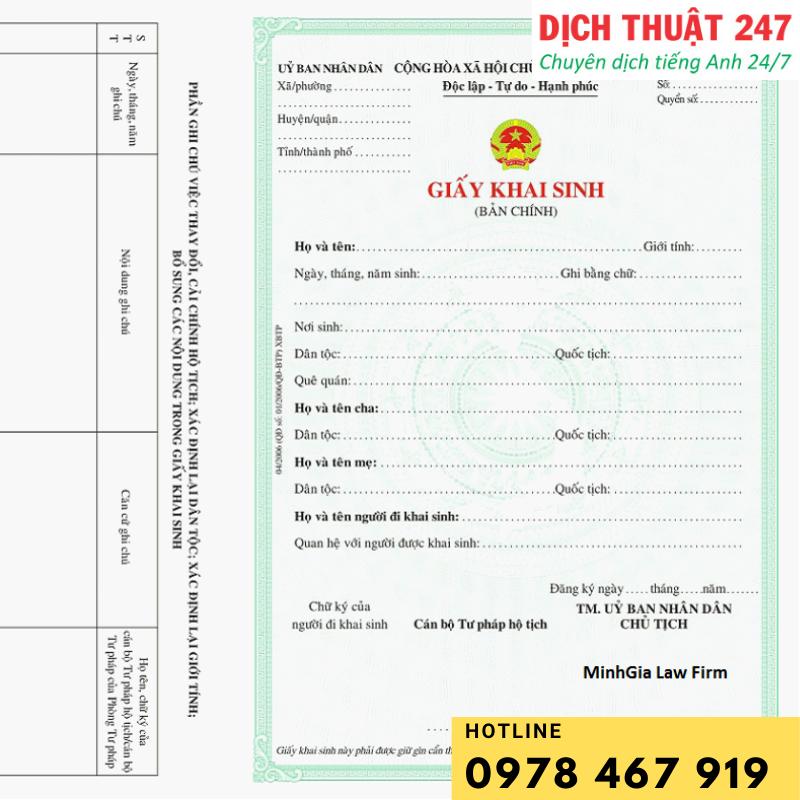 Dịch thuật công chứng giấy khai sinh 100% chấp nhận bởi Sở di trú các quốc gia. Dịch thuật 247 nhận hồ sơ 8-11h trả trong ngày 13h30-16h30.