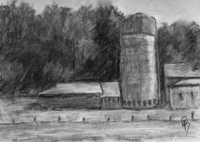 charcoal sketch landscape rural barn silo farm