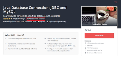 free course to learn JDBC with MySQL