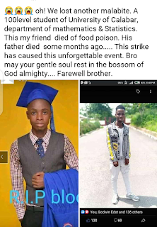 100 level Unical Student dies due to Food poisoning