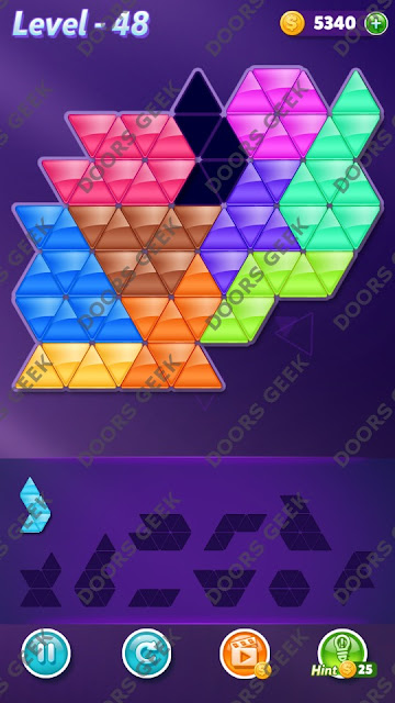 Block! Triangle Puzzle 10 Mania Level 48 Solution, Cheats, Walkthrough for Android, iPhone, iPad and iPod