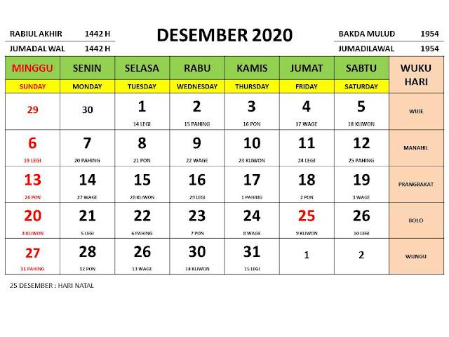 Kalender 2020 Jawa Bulan Desember