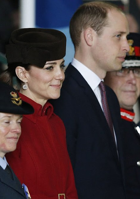 Catherine, Duchess of Cambridge and Prince William, Duke of Cambridge attend a ceremony marking the end of RAF Search and Rescue (SAR) Force operations during a visit to RAF Valley