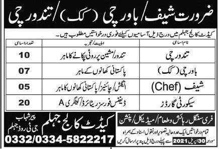 Cadet College Jhelum Latest Jobs 2021 - Application Form