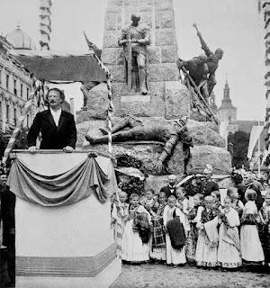Ignacy Paderewski podczas odsłonięcia Pomnika Grunwaldzkiego w Krakowie - 1910